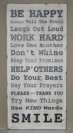 """Handpainted distressed wood """"Family rules"""" sign"""