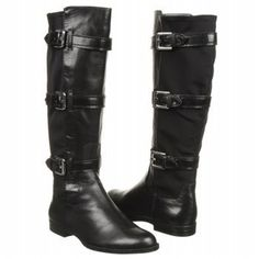 Calvin Klein Hillary Black Leather Triple Buckle Motorcycle Riding Boots 6M New | eBay  $75.20