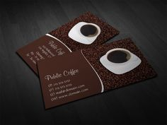 Coffee Business Cards, Coffee Cup and Beans Business Cards by J32 Design