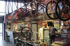 Ten of the world's coolest bike shops Bicycle Cafe, Bicycle Store, Mountain Bike Shop, Electric Mountain Bike, Velo Shop, World Cycle, The Wheelhouse, North Palm Beach, Bike Brands