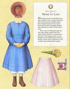Kirsten Paper Dolls an AMERICAN GIRL by Pleasant Company Publications, 1994: Page 3 (of 26). Even pages are the backs of odds and contain description of outfit and possibly book page (1 through 20)