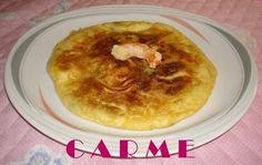 Tortilla de espárragos trigueros, langostinos y pimiento