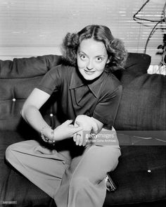 Actress Bette Davis poses at home in Los Angeles, California.