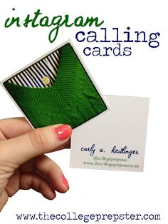 Instagram Business Cards - On my mental DIY list (I will need two types Crafty & Professional)