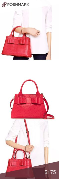 Kate Spade Charm City Bag NWT, in a beautiful red/pink ostrich leather, this bag is the perfect size! Guaranteed authentic retails for 428.00 kate spade Bags