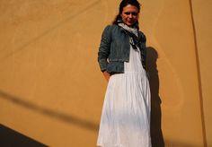 ACG's lead fashion stylist, Hanna Garner of MAVEN in a vintage white cotton sundress under a Marc by Marc Jacobs peplum denim jacket & vintage scarf. Photo by Jon Millner.
