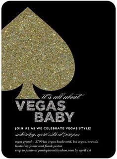 Party Invitations Glitz and Glamor - Front : Black
