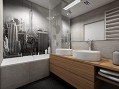 Nowoczesne mieszkanie biel, beton, drewno