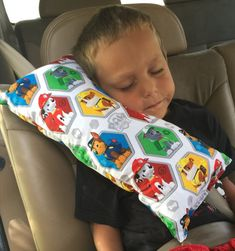 Great seat belt pillow for those long rides various styles available @ https://www.etsy.com/au/listing/249833080/paw-patrol-seat-belt-pillowchilds-travel?ref=market I made one for my son but ***be aware & checkout the safety requirements and aspects for yourselves***