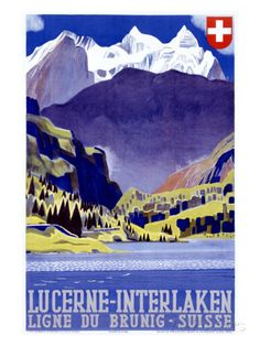 Swiss Alps Lucerne Travel Poster Giclee Print at AllPosters.com