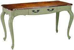 Place behind loveseat in living room - for laptop use as well as console: Provence Writing Desk in green