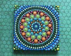Original Hand Painted Acrylic Mini Mandala Canvas Painting w/Easel Mandala Canvas, Mandala Print, Mandala Dots, Dot Art Painting, Mandala Painting, Stone Painting, Painted Rocks, Hand Painted, Mosaic Rocks