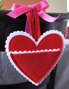 Valentines Day Celebration.   Felt heart pocket decoration. DIY craft, Card Holder, Sew in Love Project.