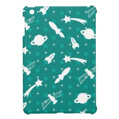 Teal Blue Outer Space Astronaut Planets Stars iPad Mini Cases