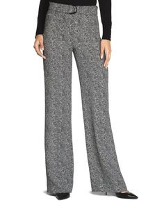 Keep your cool in these crepe wide-leg pants with houndstooth print and lightweight feel. - White House   Black Market