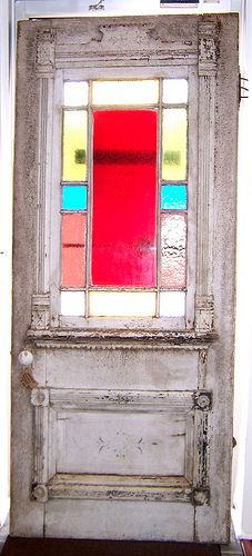 Stained Glass Door ( Exterior View ) - This door is about 140 years old. It was the entry door for an old Victorian farm house.