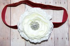 Christmas Headband White Ranunculus Flower on a Red by craftmomof3, $9.95