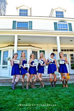 Blue, short bridesmaid dresses with cowboy boots