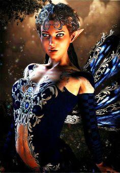 Fairy helps Bryn understand the prophecy about her. Fantasy Images, Fantasy Women, Fantasy Artwork, Magical Creatures, Fantasy Creatures, Woodland Creatures, Dark Gothic, Elfen Fantasy, Drawn Art