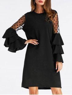 GET $50 NOW   Join RoseGal: Get YOUR $50 NOW!https://www.rosegal.com/long-sleeve-dresses/bell-sleeve-mesh-insert-mini-shift-dress-1531640.html?seid=4695937rg1531640