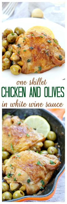 One Skillet Chicken and Olives in White Wine Sauce ~ 5 ingredients are all you need to make this bright and briny chicken! Good taste does not always depend on a lot of ingredients!