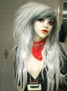 Nice play on the dead girl look. Love the lips and eyes too. Goth girl? Not sure, but great look!