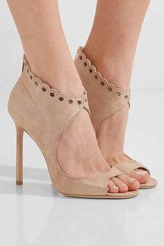 Heel measures approximately 110mm/ 4.5 inches Sand suede Zip fastening along back Made in Italy