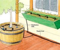 Container drip system Garden Beds, Lawn And Garden, Home And Garden, Drip System, Rain Barrels, Veggie Gardens, Outdoor Stuff, Natural Life, Irrigation