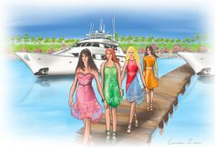 Dream away at Ghantoot Marina  Fashion and  #Yachts in #Dubai illustration by #lindazoon blog for #AmsterdamFashionTV #DubaiFashionTV