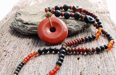red jasper necklace red creek jasper obsidian by TheSpiralRiver
