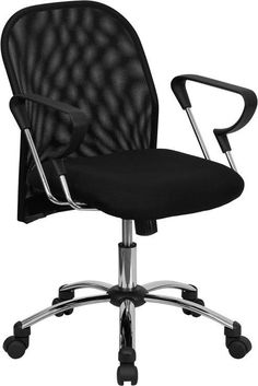 Mid-Back Black Mesh Office Chair with Chrome Base BT-215-GG by Flash Furniture