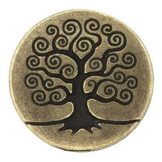 15.5mm Antique Brass Plated Pewter Tree of Life Button by TierraCast® | Fusion Beads