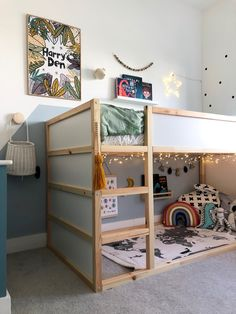 This low bed is perfect for younger children, but also grows with them. Ikea Kids Bed, Ikea Boys Bedroom, Boy Toddler Bedroom, Toddler Rooms, Ikea For Kids, Boys Bedroom Ideas Toddler Small, Toddler Cabin Bed, Toddler Beds For Boys, Boys Shared Bedroom Ideas