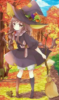 Anime Merchandise for all anime fans Anime Girl Cute, Beautiful Anime Girl, Loli Kawaii, Kawaii Anime, Lolis Anime, Anime Art, Manga Halloween, Halloween Wallpaper Cute, Anime Witch