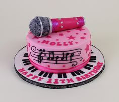 Pink microphone cake More
