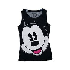 a34194deb60 Disney Mickey Mouse Big Face Womens Pajama T Shirt Tank Top - Black Tank  Top Shirt