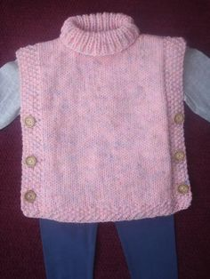 Tabard, Sleevless Top, Jacket, Poncho Hand Knitted in Pink Aran Yarn - lauty - Knitting Ideas Snood Knitting Pattern, Knit Headband Pattern, Chunky Knitting Patterns, Crochet Poncho Patterns, Knitting Designs, Hand Knitting, Crochet Pattern, Crochet Baby Poncho, Crochet Toddler