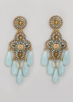 Miguel Ases Chandelier earrings...entirely done in bead work with precious gems....lovely.