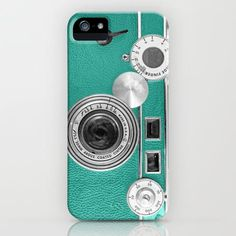 Teal Retro Vintage Phone Iphone Case By Wood-n-images | Society6 -- Yikeskis this makes me want an iPhone.