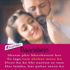Baarishein Lyrics - Atif Aslam: A romantic melody in the vocals of Atif Aslam, features Nushrat Bharucha. The song is composed and written by Arko. Romantic Song Lyrics, More Lyrics, Beautiful Lyrics, Love Songs Lyrics, Song Lyric Quotes, All Songs, Bollywood Movie Songs, Bollywood Quotes, Poetry Hindi