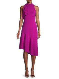 Parker Black Maggie Ruffle Dress In Electric Berry Ruffle Dress, Peplum Dress, Parker Black, World Of Fashion, Fit And Flare, Dress Outfits, Bodice, Dresses For Work, Berry