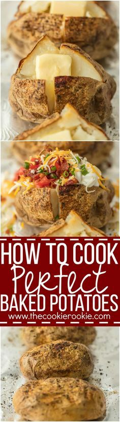 Everyone should know HOW TO COOK PERFECT BAKED POTATOES! These potatoes turn out tender, flavorful, and perfect every single time. Top with all the fixings and dig in! via @beckygallhardin