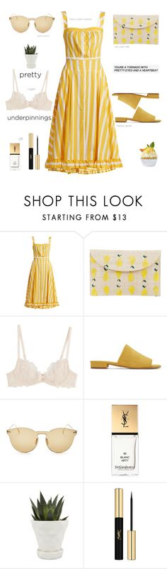 """""""Oh my pretty underpinnings (TFS)"""" by soranamikaze ❤ liked on Polyvore featuring Thierry Colson, Kayu, L'Agent By Agent Provocateur, Mansur Gavriel, Illesteva, Yves Saint Laurent, Chive, contestentry, polyvorecontest and polyvorefashion"""