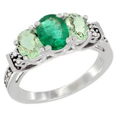 14K White Gold Natural Emerald & Green Amethyst Ring 3-Stone Oval Diamond Accent, size 5, Women's