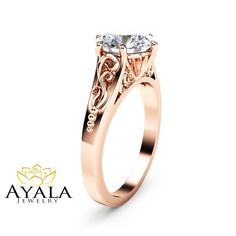 2CT Moissanite Engagement Ring 14K Rose Gold Moissanite Solitaire Ring Unique Alternative Engagement Ring by AyalaDiamonds on Etsy https://www.etsy.com/listing/270444204/2ct-moissanite-engagement-ring-14k-rose