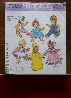 Baby Doll Wardrobe: Dresses Bonnet Diaper Hat Romper by Ziatacraft Baby Clothes Patterns, Baby Patterns, Doll Patterns, Clothing Patterns, Frock Patterns, Clothing Ideas, Kids Clothing, Simplicity Sewing Patterns, Vintage Sewing Patterns
