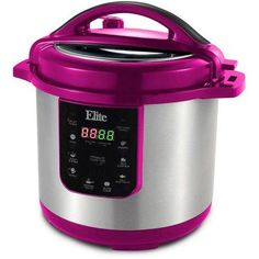 Elite Platinum 8Qt. Electric Stainless Steel Pressure Cooker w/ 9 Function Digital Display, Cinnamon Red, EPC-813C, Brown