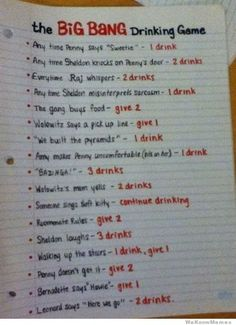 Big Bang Drinking Game
