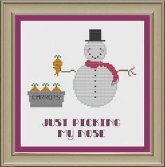 Just picking my nose: funny snowman cross-stitch pattern