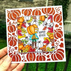 Colorful Fall Card with Newton's Nook and Glitz Glitter Gel - Therm O Web Pumpkin Spice Coffee, Glitter Gel, Thanksgiving Cards, Fall Cards, Happy Fall, Card Sizes, I Fall In Love, Nook, Card Making